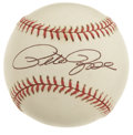 Autographs:Baseballs, Pete Rose Single Signed Baseball. A stunning single from the HitKing, featuring a 10/10 black ink signature applied to the...