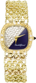 Timepieces:Wristwatch, Bueche Girod Lady's Diamond, Lapis Lazuli, Gold Integral BraceletWatch, circa 1980. Case: 25 mm, cushion-shaped, heavily ... (Total:1 Item)