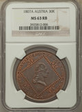 Austria, Austria: Franz I 30 Kreuzer 1807-A MS63 Red and Brown NGC,...