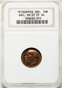 Germany: Bavaria. Ludwig III copper Proof Pattern 10 Mark 1913 PR64 NGC