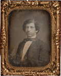 Photography:Daguerreotypes, Ninth-Plate Daguerreotype of African-American Man Fashioning Himself After Frederick Douglass....