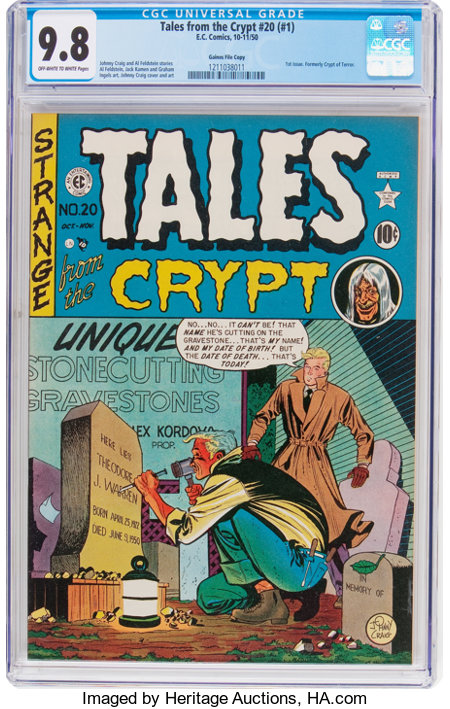Tales From the Crypt #20 (#1) Gaines File Pedigree (EC, 1950) CGC NM/MT 9.8 Off-white to white pages....