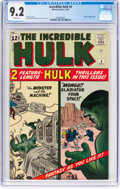 Silver Age (1956-1969):Superhero, The Incredible Hulk #4 (Marvel, 1962) CGC NM- 9.2 White pages....