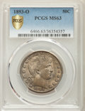 Barber Half Dollars: , 1893-O 50C MS63 PCGS Secure. PCGS Population: (38/57 and 1/1+). NGC Census: (48/44 and 0/0+). CDN: $1,050 Whsle. Bid for pr...