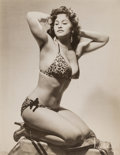 Photographs, Boris Bakchy (American, 20th Century). Perla Mar Posing in a Bathing Suit, circa 1940s. Gelatin silver. 9-3/4 x 7-1/2 ...