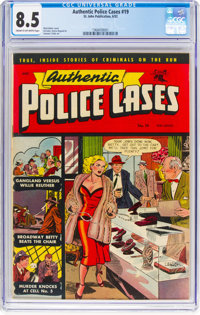 Authentic Police Cases #19 (St. John, 1952) CGC VF+ 8.5 Cream to off-white pages