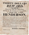 Miscellaneous:Broadside, 1818 Runaway Slave Broadside....