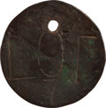 Antiques:Black Americana, 18th Century Copper Slave Auction Tag....