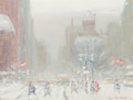American:Impressionism, Johann Berthelsen (American, 1883-1972). Fifth Avenue inWinter. Oil on canvas. 12 x 16 inches (30.5 x 40.6 cm). Signed...