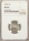 Shield Nickels: , 1870 5C MS64 NGC. NGC Census: (63/39). PCGS Population: (97/62). CDN: $425 Whsle. Bid for problem-free NGC/PCGS MS64. Minta...
