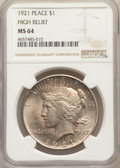 Peace Dollars, 1921 $1 MS64 NGC. NGC Census: (3613/1324). PCGS Population: (4555/1656). CDN: $675 Whsle. Bid for problem-free NGC/PCGS MS6...