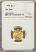 Liberty Quarter Eagles: , 1904 $2 1/2 MS66+ NGC. NGC Census: (200/113 and 14/8+). PCGS Population: (225/69 and 8/8+). MS66. Mintage 160,700. ...