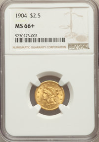 1904 $2 1/2 MS66+ NGC. NGC Census: (200/113 and 14/8+). PCGS Population: (225/69 and 8/8+). MS66. Mintage 160,700. ...(P...