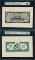 Canadian Currency, Roseau, Dominica- Royal Bank Of Canada $5 (£1-0-10) 2.1.1920 Ch. #630-42-02 Front And Back Proofs PMG Gem Uncirculated 66... (Total:2 notes)