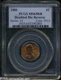 Lincoln Cents: , 1983 1C Doubled Die Reverse MS65 Red and Brown PCGS. ...