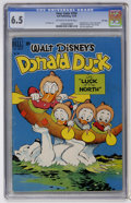 Golden Age (1938-1955):Cartoon Character, Four Color #256 Donald Duck (Dell, 1949) CGC FN+ 6.5 Off-white towhite pages....