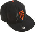 Baseball Collectibles:Hats, Circa 2001 Barry Bonds Game Used Cap. The Home Run King wore thiscap on the field in service of the San Francisco Giants a...