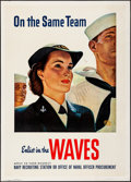 "Movie Posters:War, World War II Propaganda (U.S. Navy, 1943). Rolled, Fine/Very Fine. WAVES Poster (28"" X 39"") ""On the Same Team,"" John Philip ..."