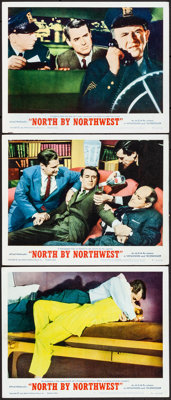"""North by Northwest (MGM, R-1966). Very Fine-. Lobby Cards (3) (11"""" X 14""""). Hitchcock.... (Total: 3 Items)"""