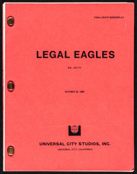 """Legal Eagles (Universal, 1985). Very Fine. Final Draft Script (134 Pages, 8.5"""" X 11""""). Comedy"""