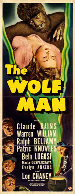 "The Wolf Man (Universal, 1941). Folded, Fine/Very Fine. Insert (14"" X 36"")"