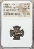 Ancients:Greek, Ancients: CALABRIA. Tarentum. Ca. 281-240 BC. AR didrachm or stater(19mm, 6.44 gm, 11h). NGC Choice XF 4/5 - 4/5....