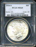"""Peace Dollars: , 1934-S S$1 MS65 PCGS. The current Coin Dealer Newsletter(Greysheet) wholesale """"bid"""" price is $5600.00...."""