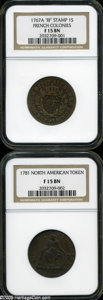 Colonials: , 1767-A 9DEN French Colonies Copper Sou Fine 15 NGC,... (2 coins)