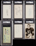 Autographs:Index Cards, Signed - Chicago Bears Stars & HoFers Index card & Check Collection (6) - PSA/DNA Authentic. ...