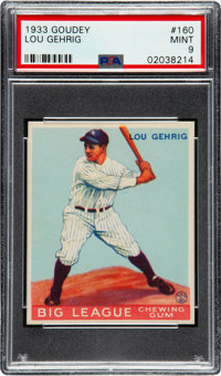 1933 Goudey Lou Gehrig #160 PSA Mint 9 - Pop Two, None Higher!