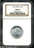 Standing Liberty Quarters: , 1917 25C Type One MS66 NGC....
