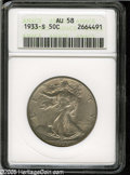 Walking Liberty Half Dollars: , 1933-S 50C AU58 ANACS....