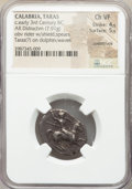 Ancients: CALABRIA. Tarentum. Ca. early 3rd century BC. AR didrachm or stater (22mm, 7.91 gm, 11h). NGC Choice VF 4/5 -...