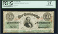 Confederate Notes:1863 Issues, T57 $50 1863 PF-1 Cr. 406 PCGS Very Fine 35.. ...