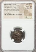 Ancients:Roman Republic, Ancients: M. Junius Silanus (145 BC). AR denarius (20mm, 3.80 gm,6h). NGC Choice XF 4/5 - 5/5....