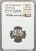 Ancients:Celtic, Ancients: BRITAIN. Durotriges. Ca. 65 BC-AD 45. BI stater (20mm,4.52 gm, 7h). NGC MS 4/5 - 4/5....