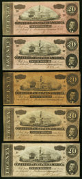 Confederate Notes:1864 Issues, T67 $20 1864 - Five Examples Very Good or better.. ... (Total: 5 notes)