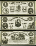 Obsoletes By State:Louisiana, New Orleans, LA- Citizens' Bank of Louisiana $1; $2; $3 18__ Remainders About Uncirculated or better.. ... (Total: 3 notes)