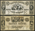 Obsoletes By State:Louisiana, New Orleans, LA- New Orleans Canal & Banking Company $5; $20 18__ Remainders Crisp Uncirculated.. ... (Total: 2 notes)