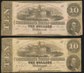 Confederate Notes:1862 Issues, T52 $10 1862 PF-1; -9 Cr. 369; 373 Very Good-Fine.. ... (Total: 2 notes)