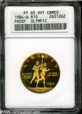 1984-W G$10 Olympic Gold Ten Dollar PR65 Heavy Cameo ANACS. A lovely lemon-gold Gem, a dash of rose color is below PLURI...