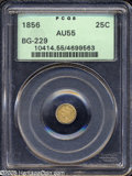 California Fractional Gold: , 1856 25C Liberty Round 25 Cents, BG-229, R.4, AU55 PCGS....