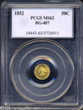California Fractional Gold: , 1852 50C Liberty Round 50 Cents, BG-407, R.4, MS62 PCGS....
