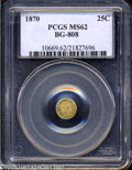 California Fractional Gold: , 1870 25C Liberty Round 25 Cents, BG-808, R.3, MS62 PCGS....