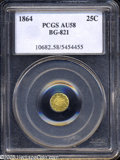 California Fractional Gold: , 1864 25C Liberty Round 25 Cents, BG-821, Low R.5, AU58 PCGS....