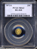 California Fractional Gold: , 1872/1 25C Indian Round 25 Cents, BG-868, High R.4, MS62 PCGS....