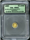 California Fractional Gold: , 1880 50C Indian Octagonal 50 Cents, BG-954, Low R.4, MS61 ICG....