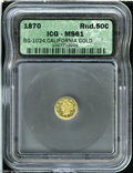 California Fractional Gold: , 1870 50C Liberty Round 50 Cents, BG-1024, Low R.4, MS61 ICG....