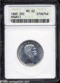 Coins of Hawaii: , 1883 25C Hawaii Quarter MS62 ANACS....