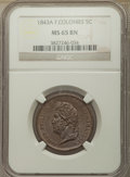 French Colonies: Louis Philippe I 5 Centimes 1843-A MS65 Brown NGC
